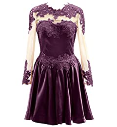 Macloth Homecoming Sleeves Illusion Party Prom Dress Short Lace Long n0wkN8XPZO
