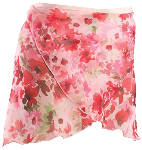 - Reversible wrap skirt featuring floral chiffon print. This skirt can be worn as a pastel floral print on one