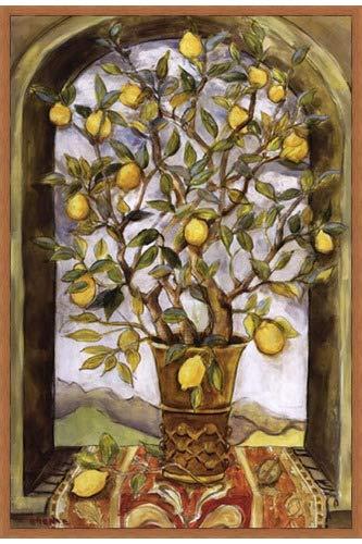 Poster Palooza Framed Lemon Branch Bouquet- 24x36 Inches - Art Print (Honey Pecan Frame)