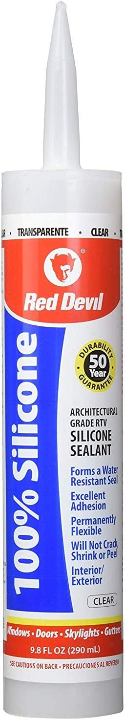 Red Devil 081612 100% Silicone Sealant Architectural Grade, Clear, 9.8 oz, Pack of 12