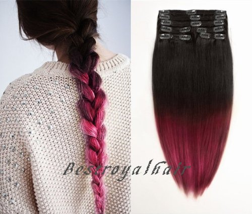 BestRoyalHair Black and Dark Cherry Red Two Colors Straight Clip in Ombre Hair Extension - 100% Indian Remy Human Hair RHS242 (16 inch)