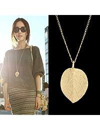 Costume Jewelry Gold Color Alloy Leaf Design Pendant...