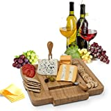 House Ur Home 100% Bamboo Cheese/Meat Board & Cutlery Knife Set- Cheese and Crackers Serving Board Equipped Drawer That Slides Out And Swings Fully. That Comes With 4 Stainless Steel Knife Server
