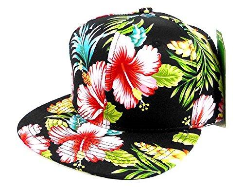 All Over Hawaiian Print Snapback Hat Cap Flat Bill Floral Black - Hat Snapback Floral