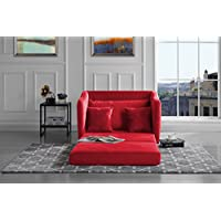 Modern Soft Brush Microfiber Modular / Convertible Sleeper Chair (Red)