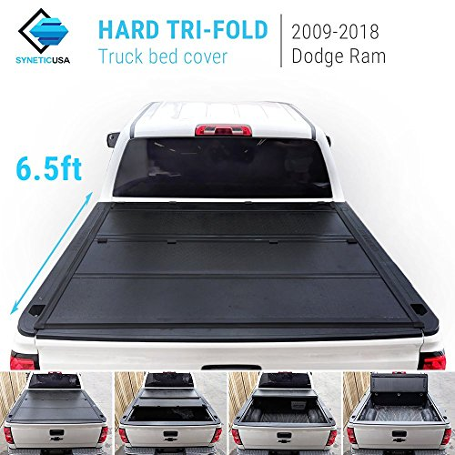 Syneticusa 2009-2018 Ram 1500/2500/3500 6.5ft New 2nd Generation Lock Hard Solid Tri-Fold Tonneau Cover Truck Cargo Bed Cover Locking Aluminum ()