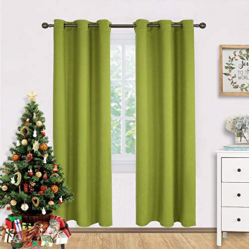 NICETOWN Window Drapery Panels Blackout Curtains, Christmas Window Decoration Thermal Insulated Solid Grommet Blackout Drapes for Bedroom (Set of 2 Panels,42 by 72 Long, Fresh Green) (Lime Panels Drapery Green)