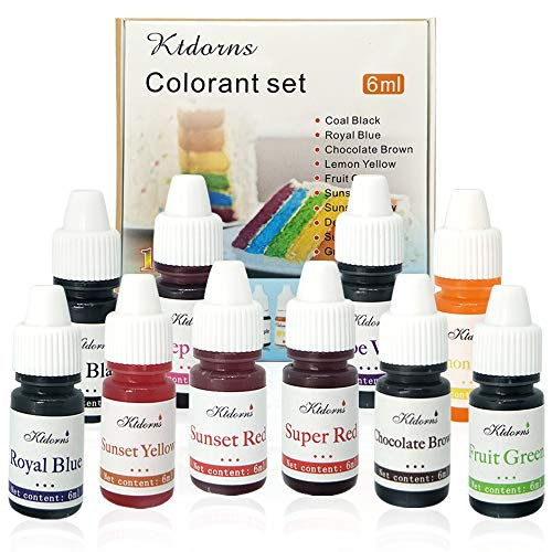 Food Coloring 10 Color Variety Kit in .25 fl. oz. (6ml) Bottles .For cake food coloring neon food coloring food dye]()