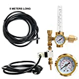 Yaetek Hydroponics CO2 Regulator Emitter System with Solenoid Valve, CO2 Grow Plant Regulator / Flow Gauge Valve, Flow Meter Made of Brass
