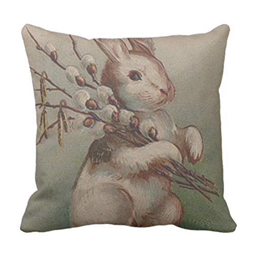 Price comparison product image TORASS Throw Pillow Cover Rabbit Easter Bunny Pussy Vintage Decorative Pillow Case Home Decor Square 18 x 18 Inch Pillowcase