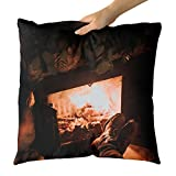 Westlake Art - Fireplace Boots - Decorative Throw Pillow Cushion - Picture Photography Artwork Home Decor Living Room - 18x18 Inch (7493-545CB)