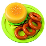 Viga KiddyPlay Wooden Hamburger & Onion Rings Set - Childrens Pretend Play Food Kitchen Toy