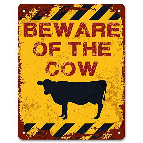 Dozili Beware of The Cow - Vintage Effect Metal Sign/Plaque 10