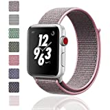 iMoway Apple Watch Band 38mm/42mm Sport Loop iWatch Band (Adjustable Velcro) for Apple Watch Series 1/2/3 Sport Edition(42mm pinksand)