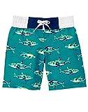Crazy 8 Baby Toddler Boys' Printed Swim Trunks, Sharks Pagoda Blue, 3Y