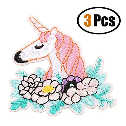 ZOOPOLR 3 Pcs Unicorn Delicate Embroidered Patches, Embroidery Patches, Iron On Patches, Sew On Applique Patch,Cool Patches for Men, Women, Boys, Girls, Kids