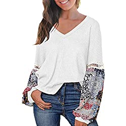 Bodoao Women S Long Sleeve V Neck T Shirts Loose Patchwork Pullover Sweater Casual Printed Tops White