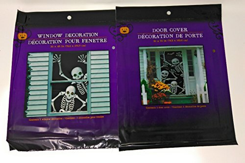 (Halloween Creepy Spooky Stickers Decor Home Gel Clings Decorations Haunted House Window & Door Skeleton Bundle of 2)