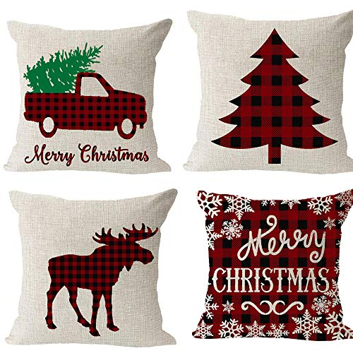 Set of 4, Red and Black Plaid Car Tree Snowflake Animal Moose Merry Christmas Winter Cotton Linen Square Throw Waist Pillow Case Decorative Cushion Cover Pillowcase Sofa 18