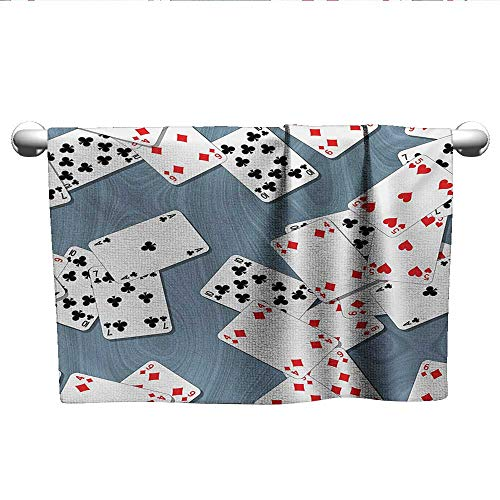 alisoso Casino,Personalized Towels Abstract Background with Playing Cards Metropolitan Tourist Attractions Machine Washable Slate Blue Red Black W 28