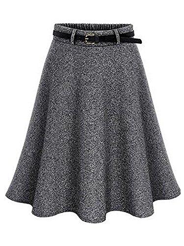 Gooket Women's Elastic Waist Woollen Skirt A-Line Pleated Flared Midi Skirt Dark Grey Tag 5XL-US (Viscose Wool Skirt)