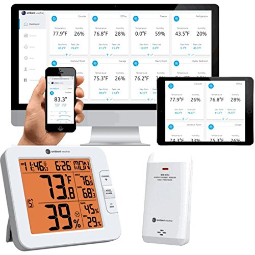 10 Station Speed Dial - Ambient Weather WS-8482 7-Channel Wireless Internet Remote Monitoring Weather Station with Indoor/Outdoor Temperature & Humidity, Compatible with Alexa, 5 x 4.5 x 1, White