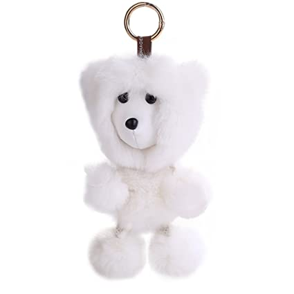 youngate mini genuine rabbit fur monkey shape plush ball animals keychain pendant height630quot