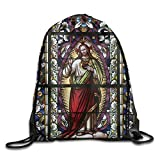 FYW Sacred Heart Of Jesus Catholic Gifts Believe Art Christian Wall Decor Church Cathedral Window View Drawstring Bags Baseball Backpack For Teens College