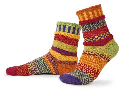 Solmate Socks - Mismatched Crew Socks; Made in USA; Daffodil