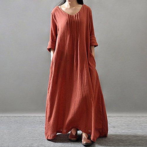 red RONG De Orange Y Suelta Túnica Algodón Primavera Cuello La Otoño Naranja Con Viste F El Vestido Rojo Redondo XIU HdFqUq