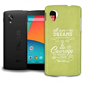 Phone Case For LG Nexus 5 Google - Disney Quote Dreams Can Come True in Green Lightweight Cover