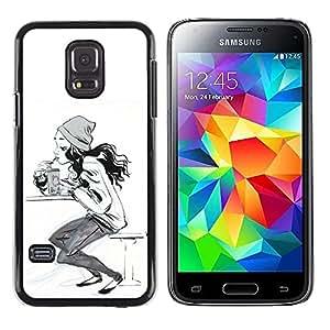 Chica del patinador Sk8 Sketch Mujer Blanco Negro- Metal de aluminio y de plástico duro Caja del teléfono - Negro - Samsung Galaxy S5 Mini (Not S5), SM-G800