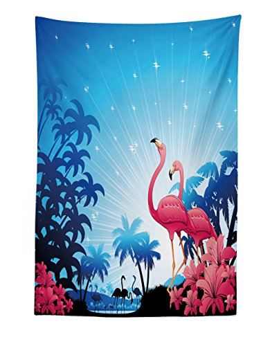 Lunarable Tropical Tapestry, Nature Scene Exotic Flowers and Palm Tree Silhouettes and Flamingos Wildlife, Fabric Wall Hanging Decor for Bedroom Living Room Dorm, 30 W X 45 L inches, Pink Blue White ()