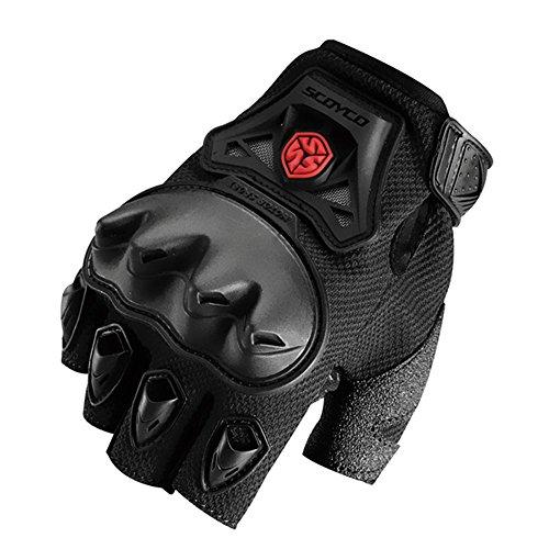 Scoyco MC29D Summer Motorcycle Racing Half Finger Gloves Off Road Motocross Protective Gear (M, Black)