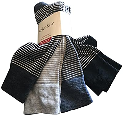 Calvin Klein Men's Dress Socks Cotton 4 Pack Striped Grey Black