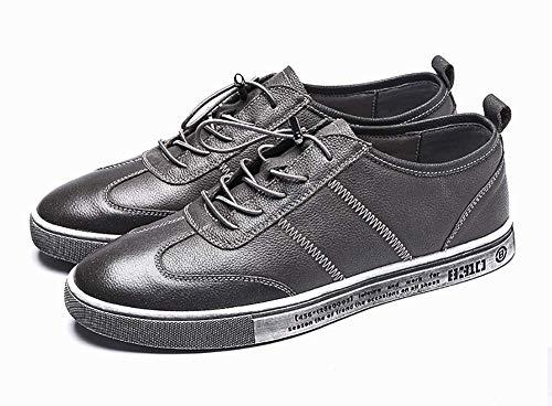 de de Color Gris Vestir HhGold Redonda Hombres Cabeza Zapatos cómodos para Hombres 7 US tamaño los con UK Zapatos 8 para de Cordones Cuero con Ocasionales Negro Hombres vR56RpPqOw