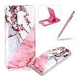 Soft Case for Xiaomi Pocophone F1,Anti Scratch Cover for Xiaomi Pocophone F1,Herzzer Stylish Pretty Pink White Marble Stone Pattern TPU Bumper Flexible Shock Scratch Resist Rubber Case