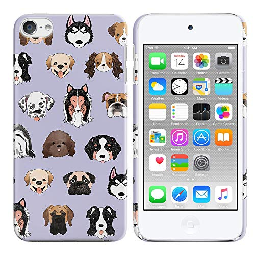 FINCIBO Case Compatible with Apple iPod Touch 5 6th Generation, Back Cover Hard Plastic Protector Case Stylish Design for iPod Touch 5 6 - Dog Face Purple (Apple Ipod Dog)