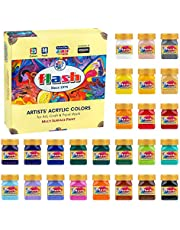 Flash Multicolour Acrylic Paint Set | 25 Colors | 50 ml Each | High Pigment Strength | Non Fading | Indoor/Outdoor | Non Toxic | Multi-Surface Paint | Pro Artist, Hobby Painters and Kid…