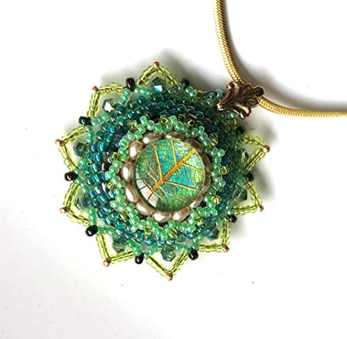 Beadwoven Green Pearl Pendant with Luminous Leaf and Crystals