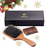 brush for dry hair - Hair Brush-Sosoon Boar Bristle Hairbrush for Long,Thick,Curly,Wavy,Dry&Damaged Hair-Reducing Hair Breakage and Frizzy,No More Tangle-Beardcomb Included
