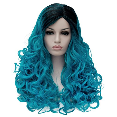 Women's Long Wavy Wig Fashionable Black to Lake Blue Synthetic Cosplay Costume Full Wig