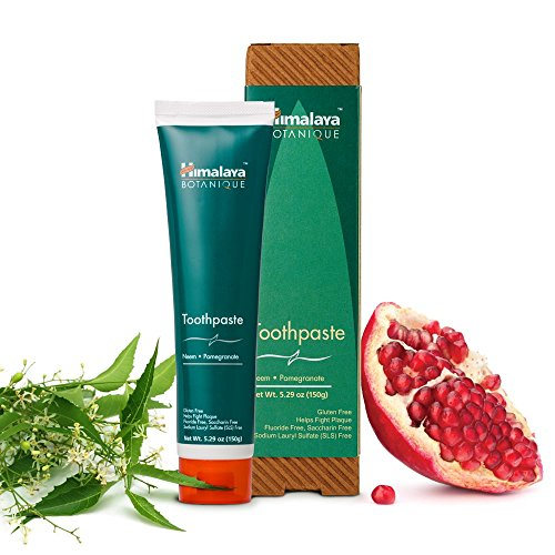 Himalaya Neem and Pomegranate Fluoride- Free Natural Toothpaste, SLS Free, 5.29 Oz/150 gm
