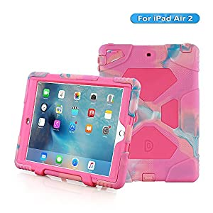 iPad Air 2 Case,iPad 6 Case,AceguarderNew Design[Waterproof][Shockproof][Scratchproof][Drop resistance]Super Protection Cover Case iPad Air 2(iPad 6)(2015) (pink camo-pink)