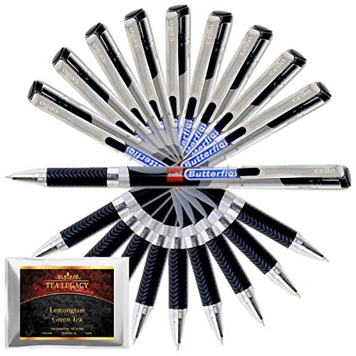 Cello Butterflow Black Pen Smooth Fine Writing 0.6 mm Tip + TeaLegacy Free Sampler (10 Ball Point Pens) Exam Series Write Long Time In School & College Low Pressure High Volume Elastic Grip