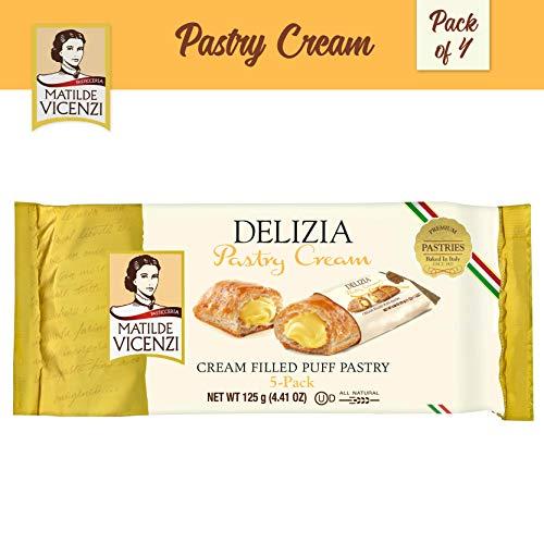 Matilde Vicenzi, Delizia Pastry Cream, Cream Filled Puff Pastry Patisserie Rolls (125g Box, 4-pack) Dairy, Kosher, Made in Italy