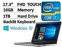 2017 Dell Inspiron 17.3 Inch Full HD (1920 x 1080) Touchscreen Signature Edition Laptop, Intel Core i7-6500U 2.5 GHz, 16GB DDR4, 1TB HDD, DVD +/-RW, 802.11AC, Bluetooth, HDMI, Win 10 - Silver