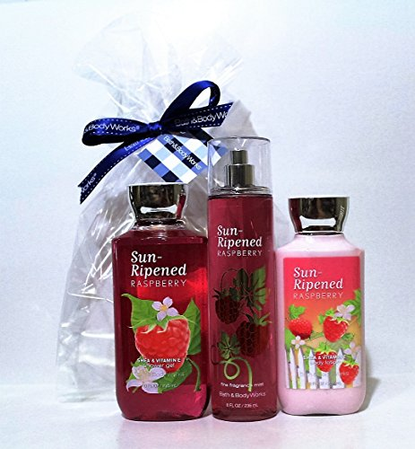 (Bath & Body Works ~ Signature Collection ~ Sun-Ripened Raspberry ~ Shower Gel ~ Fine Fragrance Mist & Body Lotion ~ Trio Gift Set)