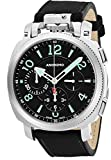 Anonimo Mens Military 43 MM Black Face Black Suede/Leather Strap Chronograph Swiss Mechanical Watch AM110001002A01