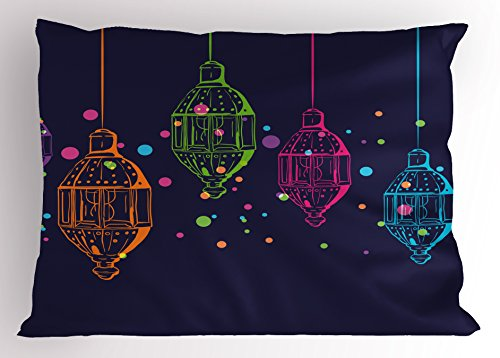 Ambesonne Lantern Pillow Sham, Candles in Night Sketch in with Dots Arabian Motifs, Decorative Standard King Size Printed Pillowcase, 36 X 20 inches, Dark Purple Multicolor by Ambesonne